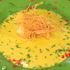 Angel Hair-Covered Fried Scallops with Curry Sauce