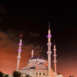 Nizamiye Turkish Masjid at night by Peter Primich - Buildings & Architecture Places of Worship