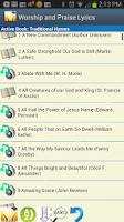 Screenshot of Worship and Praise Lyrics