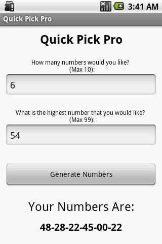 Lotto Quick Pick Pro
