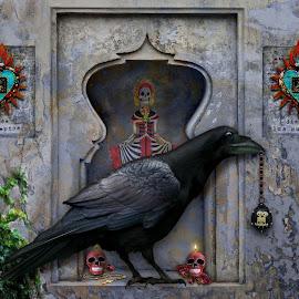 Dia De Los Muertos by Elizabeth Burton - Digital Art Animals ( skulls, milagro, altar, death, crow, teal, sugar skulls, paying respects, raven, red, spiritual, camdles, grey, dia de los muertos, day of the dead, celebration, black, cross )