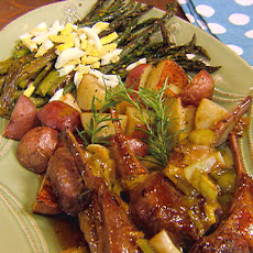 Lamb Chops with Rosemary Plum Sauce and Roasted Asparagus with Lemon Vinaigrette and Diced Egg