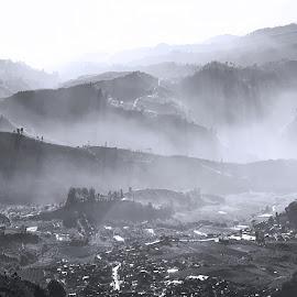 dieng valley by Benaya Agung - Landscapes Mountains & Hills ( hills, mountains, fog, views, earth, valley, sunrise, landscapes, morning, light )