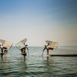The Fishers by Khun Myo Than Htun - People Portraits of Men