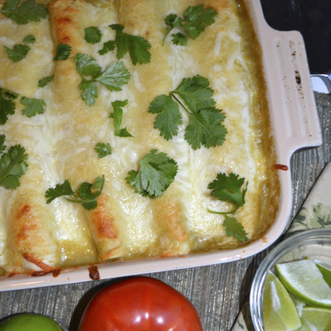 Crab & Shrimp Enchiladas with Poblano Chile Sauce