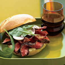 Pepper-Crusted Beef, Bacon, and Arugula Sandwiches with Spicy Mustard
