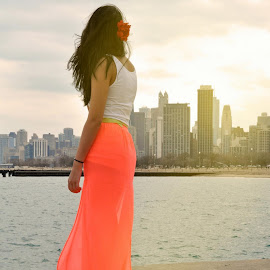 Viewing the Chicago landscape. by Taylor Gillen - People Street & Candids ( girl, red, dress, lake, cityscape, chicago )