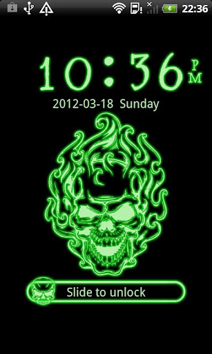 GO Locker Neon Green Skull
