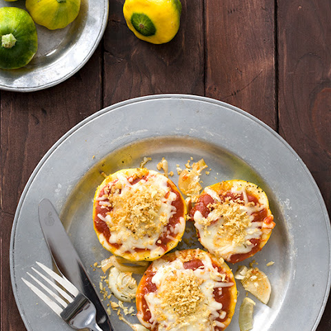 Baked Pattypan Squash Parmesan with Garlic Breadcrumbs