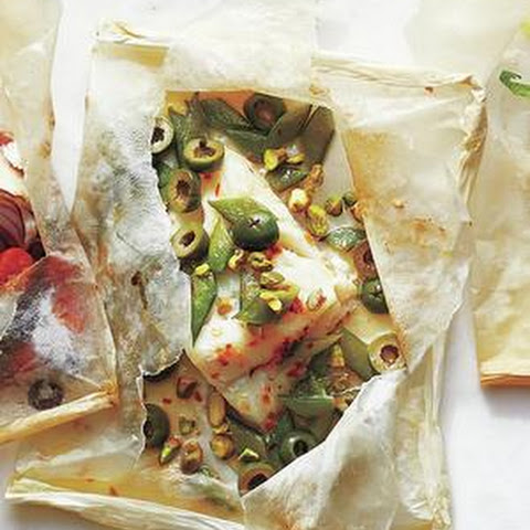 Olive, Snap Pea, and Pistachio Fish Packets