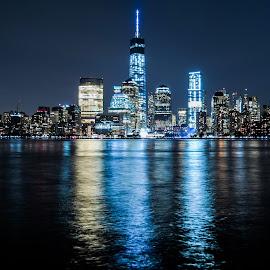 Skyline by Vaibhav Jain - City,  Street & Park  Skylines ( skyline, sky, side, blue, creek, sea, night, new york, long exposer, black, new jersey, river )