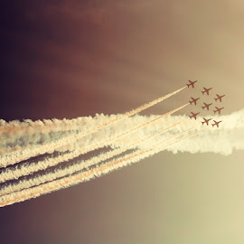 Cross Over by Kelly Murdoch - Transportation Airplanes ( red arrows, sky, airplanes, fly, isle of wight, ztam photgraphy, jets, raf, planes, ztam, air, transport )