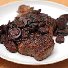 Steak with Red Wine Mushrooms