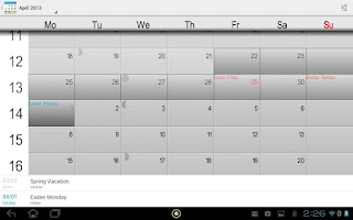 Screenshot of Holidays and Vacations