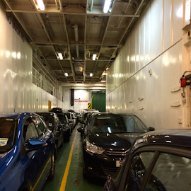 In The Belly of the Ferry by Jane Jenkins - Transportation Boats ( car transport, ferry, waiting in line, sea crossing vessel, transportation, photo stream )