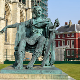Statue of Constantine the Great outside York Minster by Stretch Clendennen - City,  Street & Park  Historic Districts ( england, statue, park, emperor, constantine, york, roman, united kingdom, historic )