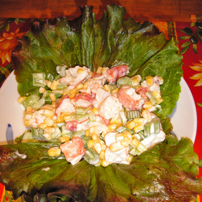 Midsummer Salad -Corn, Lobster with Cooling Lime Yogurt Dressing