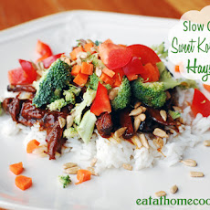 Slow Cooker Sweet Korean BBQ Beef Haystacks