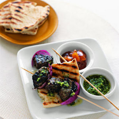 Indian-Style Beef Kebabs with Cilantro Sauce