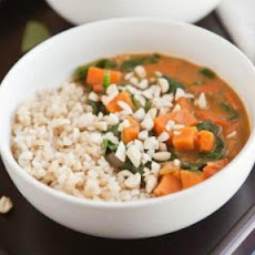 Peanut Stew with Sweet Potatoes and Spinach