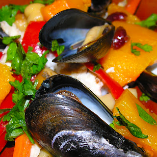 Moroccan Butternut Squash with Chicken, Chorizo, and Mussels