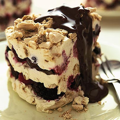 Berry Semifreddo With Warm Chocolate Sauce