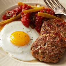 Sausage-Provolone Patties With Fried Eggs