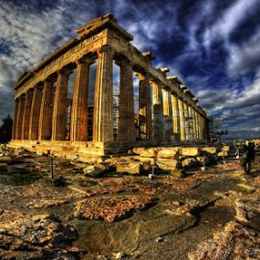 Partenone by Marco Caciolli - Buildings & Architecture Public & Historical ( blu, viaggi, tempio, hdr, cielo, grecia, nuvole, partenone, antichità )
