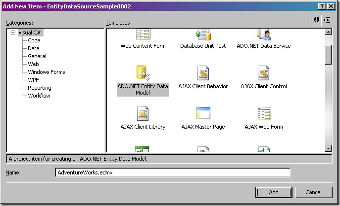 Step002 - Add New Item - ADO.NET Entity Data Model