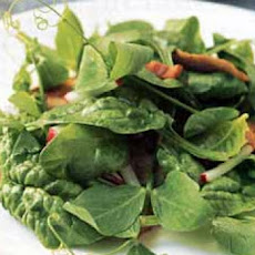 Pea Shoot and Spinach Salad with Bacon and Shiitakes