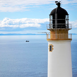 Ruah Reidh Lighthouse in Wester Ross by Wendy Milne - Buildings & Architecture Other Exteriors ( building, blue, white, lighthouse, sea, architecture )