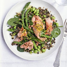 Toasted Quinoa, Lentil & Poached Salmon Salad