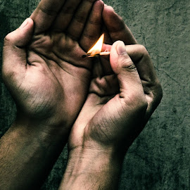 hands by Rohit Singh - People Body Parts ( matches, hands, sel, light, fire )