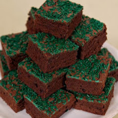 Fudgy Chocolate Brownies with Green Sprinkles