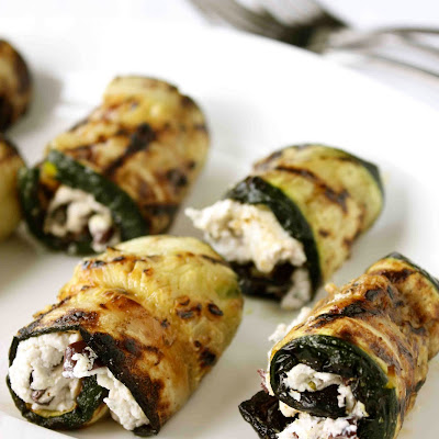 Grilled Zucchini Rolls with Herbed Goat Cheese & Kalamata Olives