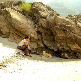 The girl and a dog by Sudhanshu Singh - Nature Up Close Rock & Stone ( nature, woman, dog, rishikesh )