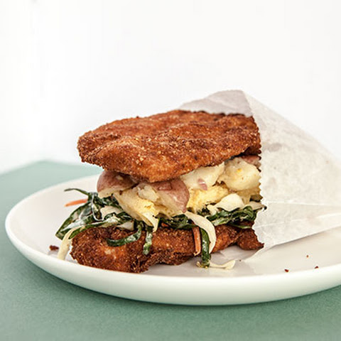 Fried Chicken and Waffle Sandwich with Potato Salad and Collard Slaw