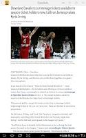 Screenshot of cleveland.com: Cavaliers News