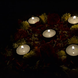 Candles and Flowers by Angelene Monica - Novices Only Objects & Still Life ( prayer, diwali, candles, flowers )