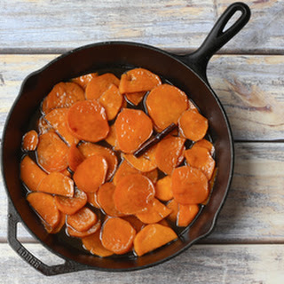 Skillet Candied Sweet Potatoes with Apple Cider Glaze