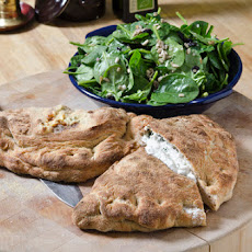 Broccoli & Ricotta Calzones with Spinach Salad
