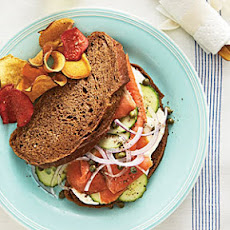 Smoked Salmon Sandwich on Pumpernickel