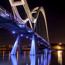 Infinity Bridge by Barrington Dent - Buildings & Architecture Bridges & Suspended Structures ( lights, water, purple, bridge )
