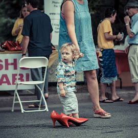 Big Red Shoes by Ian Pettigrew - Babies & Children Children Candids ( shoes, child, walking, red, baby, charity )