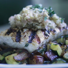 Grilled Halibut with Fennel & Green Olive Tapenade