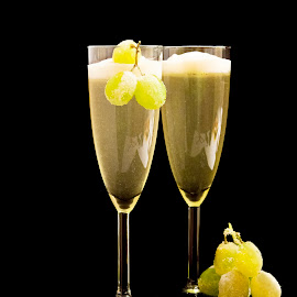 Champagne by Sandy Friedkin - Food & Drink Alcohol & Drinks ( champagne, grapes, stemware, sugared )