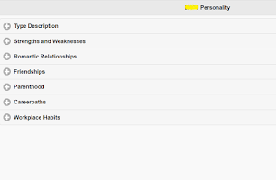 Screenshot of Scientific Personality Test