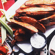 Buffalo Potato Wedges with Warm Blue Cheese Dip
