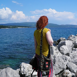 lOOking iN view. by Katarina Brusić - People Street & Candids ( clouds, girl, sea, view, stones, coast, colours )