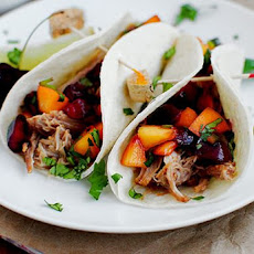 Smoky Pulled Pork Tacos with Cherry-Peach Salsa (Crock Pot Recipe!)